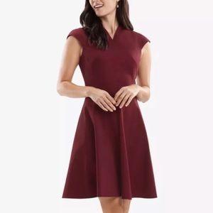 MM LaFleur Ruth Dress Pinot Wine 12 Maroon Red